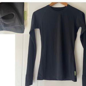 KATHMANDU Size 8 Thumb Grip Ultra Core Long Sleeve Black Top